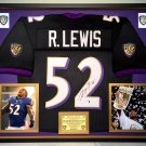 Premium Framed Ray Lewis Autographed Baltimore Ravens Jersey - GA COA