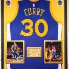 Premium Framed Autographed Stephen Curry Golden State Warriors Jersey - GA COA