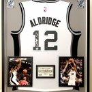 Premium Framed Autographed LaMarcus Aldridge Adidas San Antonio Spurs Jersey - GA COA