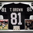 Premium Framed Tim Brown Autographed / Signed Oakland Raiders Jersey - Tristar COA