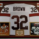 Premium Framed Jim Brown Autographed / Signed Cleveland Browns Jersey - PSA COA