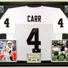 Premium Framed Derek Carr Autographed / Signed Raiders Jersey - GA COA