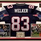 Premium Framed Wes Welker Autographed / Signed New England Patriots Reebok Jersey - JSA COA