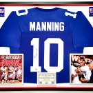Premium Framed Eli Manning Autographed / Signed New York Giants Jersey - GA COA