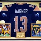 Premium Framed Kurt Warner Autographed Rams Jersey - JSA COA
