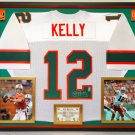 Premium Framed Jim Kelly Autographed / Signed Miami Hurricanes Jersey - Official Jim Kelly Hologram