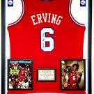 Premium Framed Julius Erving Autographed Philadelphia 76ers Jersey PSA - irving