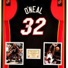 Premium Framed Shaquille O'Neal Autographed Miami Heat Jersey - JSA COA - Shaq Oneal