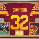 Premium Framed O.J. Simpson Autographed / Signed USC Trojans Jersey - JSA COA - oj