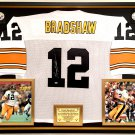 Premium Framed Terry Bradshaw Signed Steelers Official Mitchell & Ness Jersey - Mounted Memories