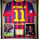 Premium Framed Neymar Jr. Autographed Barcelona Official Nike Soccer Jersey Shirt - PSA