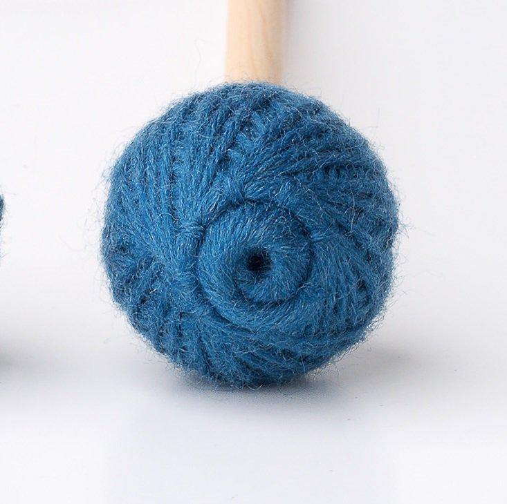Ashkatan Sutai T12 Bass Marimba Mallets - Maple Handle, Blue Yarn