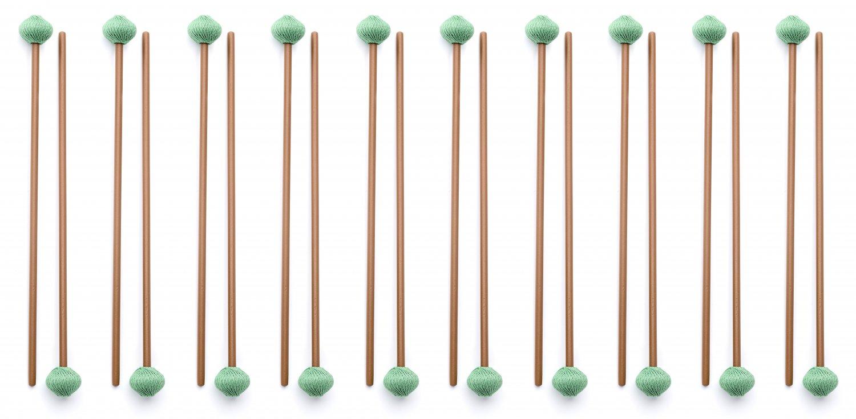 10 Pairs Medium Marimba Mallets made in EU - ASHKATAN STUDENT SERIES S80 - Maple Handle, Brown Yarn
