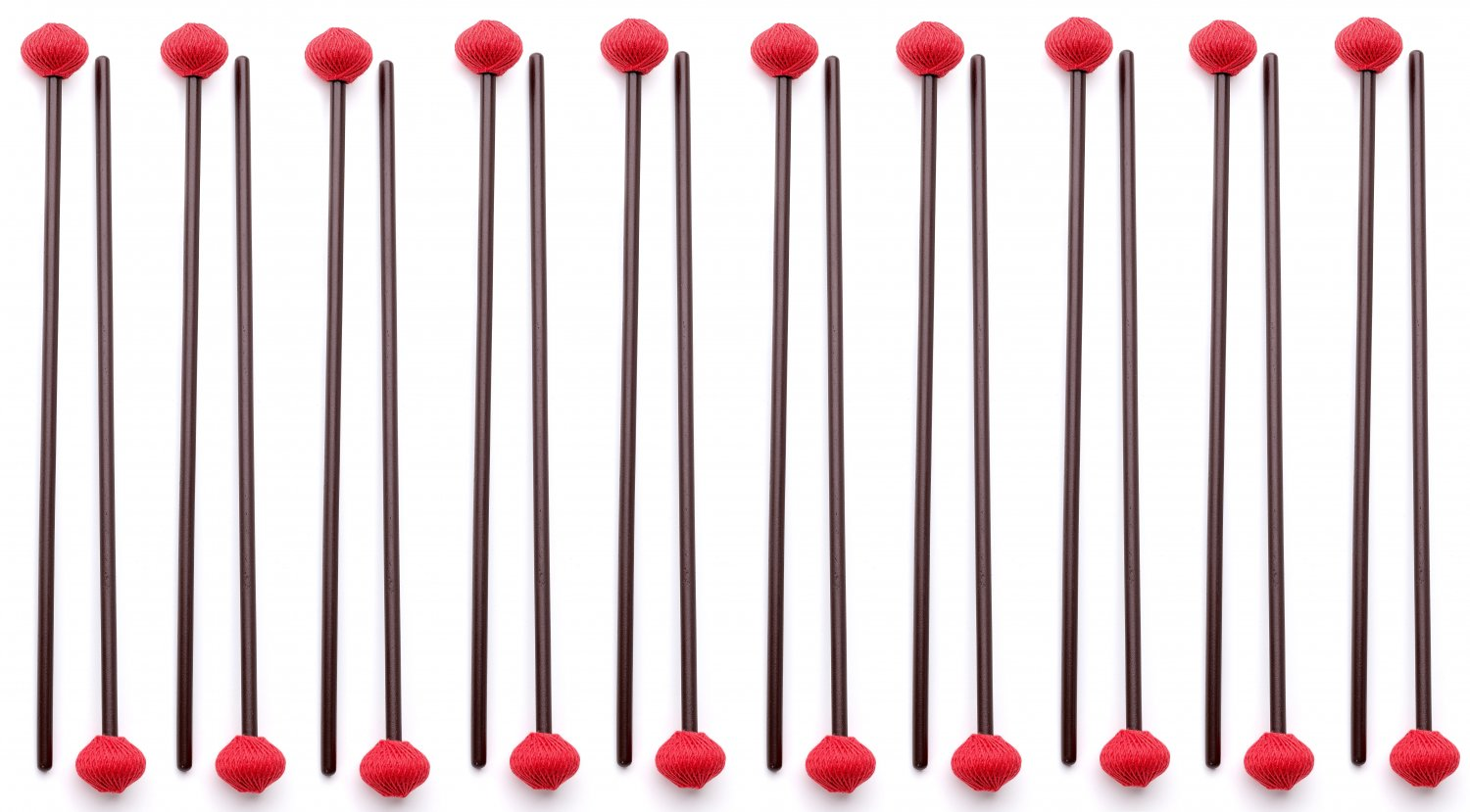 10 Pairs of Hard Marimba Mallets made in EU - ASHKATAN STUDENT SERIES S90 - Maple Handle, Red Yarn
