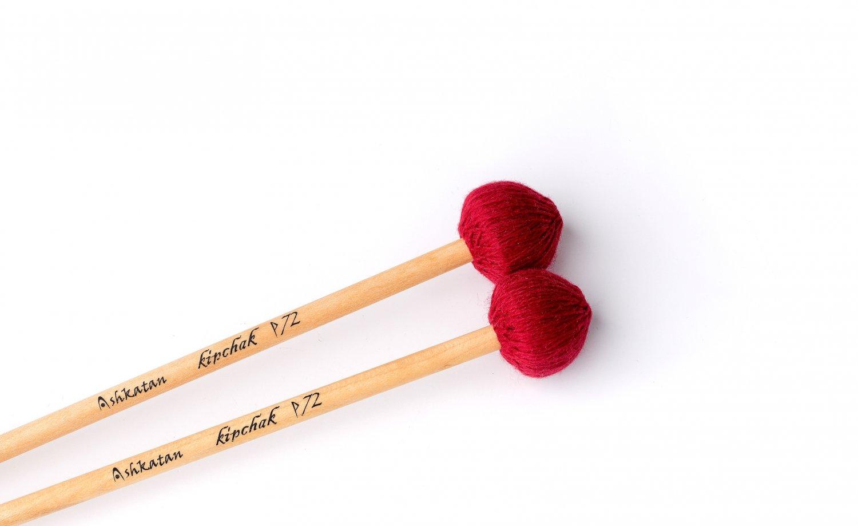 Ashkatan Kipchak P72 Medium Soft Marimba Mallets - Maple Handle, Red Yarn