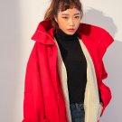 Women's Oversized High Neck Winter Coat with Detachable Faux Shearling Fur Vest