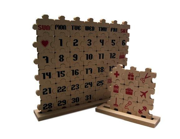 wood puzzle desk calendar diy
