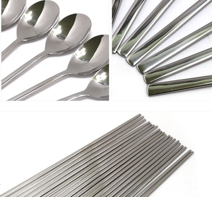 10 pairs asia stainless spoon chopstick set tableware