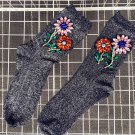shiny flower beads socks deco socks point socks women socks sneakers