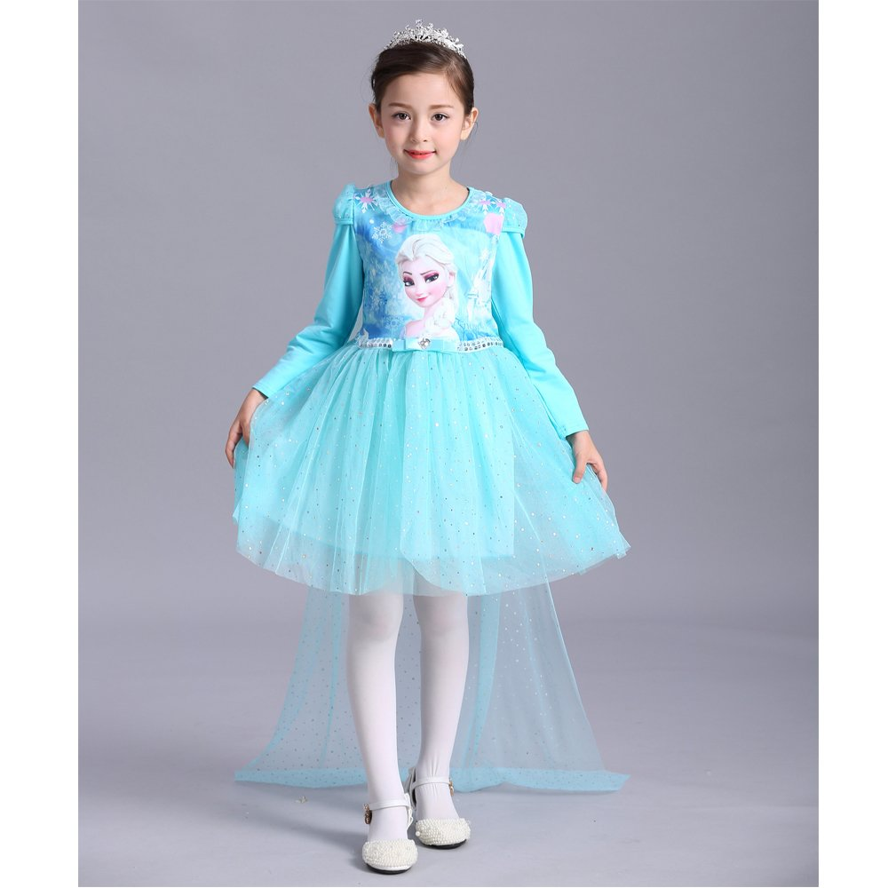 Elsa Girl's Princess Dress Long Sleeve Halloween Party Costume