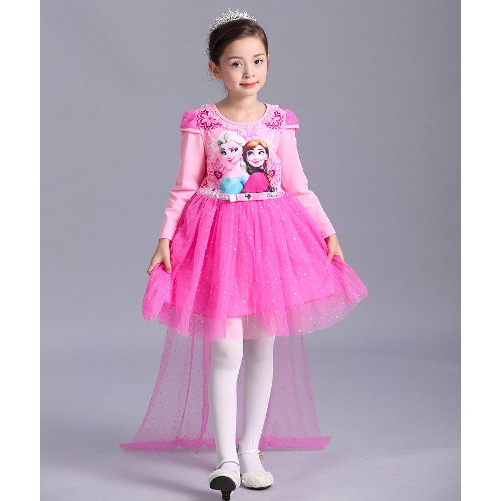 Elsa&Anna Girl's Princess Dress Long Sleeve Halloween Party Costume