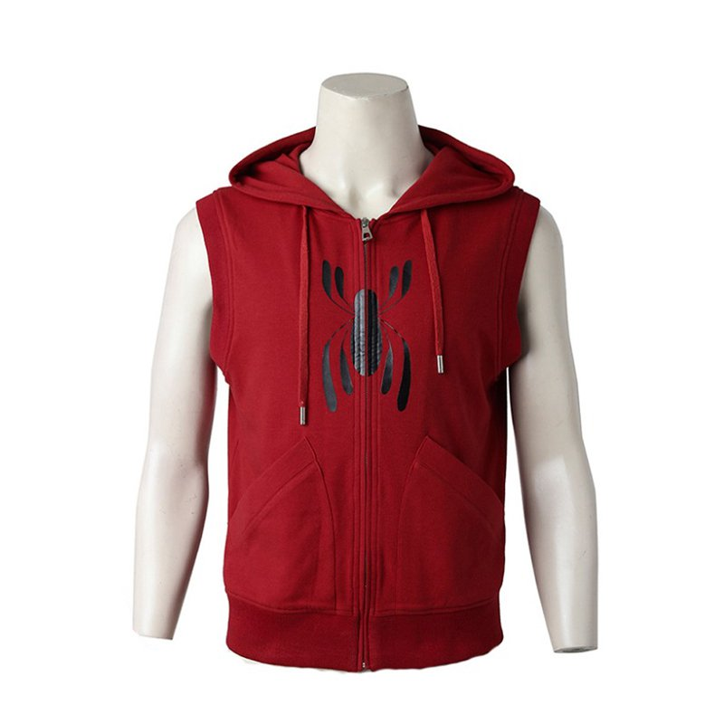 Spider-Man Homecoming Hoodie Costume Casual Red Vest Spiderman Jacket Halloween Cosplay