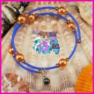 Blue & Orange Wire Wrap Dangle Bracelet