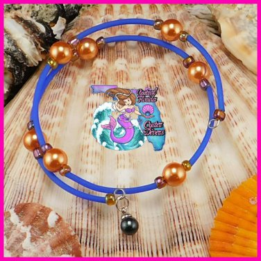 Blue & Orange Wire Wrap Dangle Bracelet