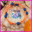 Oeange & Blue Wire Wrap Dangle Bracelet
