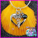 Heart Caduceus Dangle