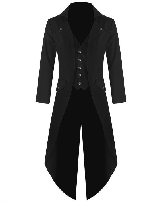 Mens Steampunk Tailcoat Jacket Black Gothic Victorian Coat