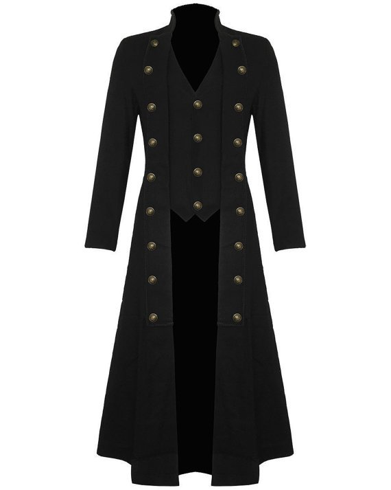 Mens Steampunk VICTORIAN Military TRENCH Coat Long Jacket Black Gothic