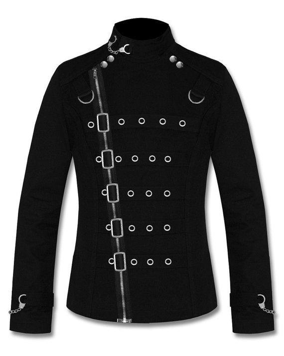 Banned Asylum BLACK Goth Vampire Metal Cuff Zip Strap Buckle Mens Jacket