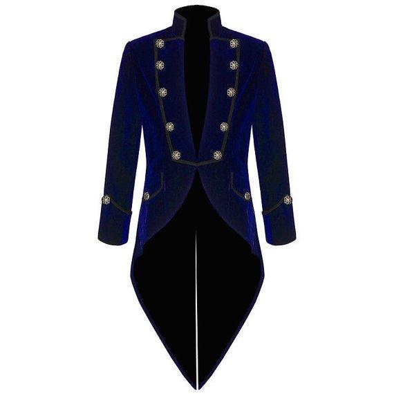 Mens Steampunk Tailcoat Jacket BLUE Velvet Gothic VTG Victorian