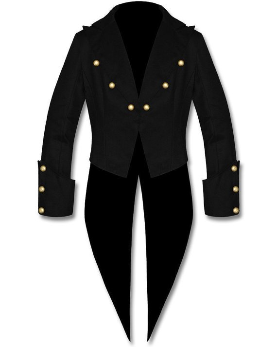 Mens Tailcoat Steampunk Gothic Victorian BLACK Swallowtail Jacket Coat