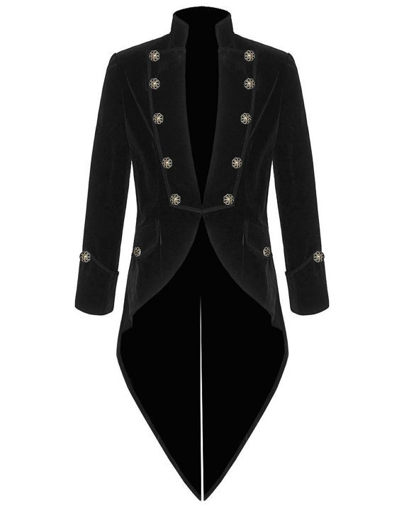 Mens Steampunk Tailcoat Jacket BLACK Velvet Gothic