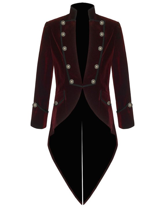 Mens Steampunk Tailcoat Jacket RED Velvet Gothic