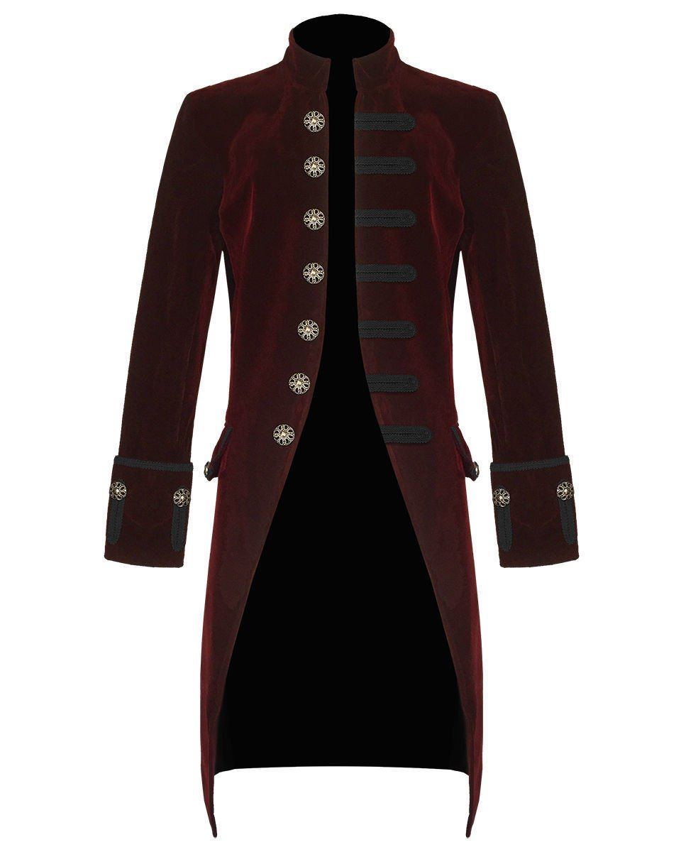 Mens Jacket Red Velvet Gothic Steampunk Victorian Frock Coat