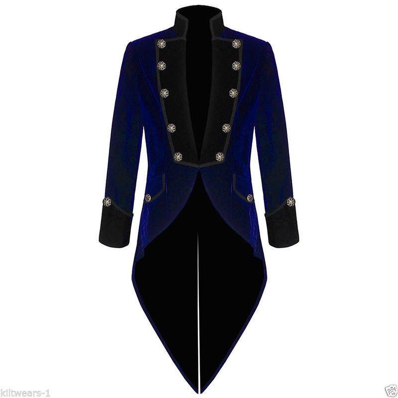 Handmade Men Tail coat Jacket Blue & Black Velvet Goth Steampunk
