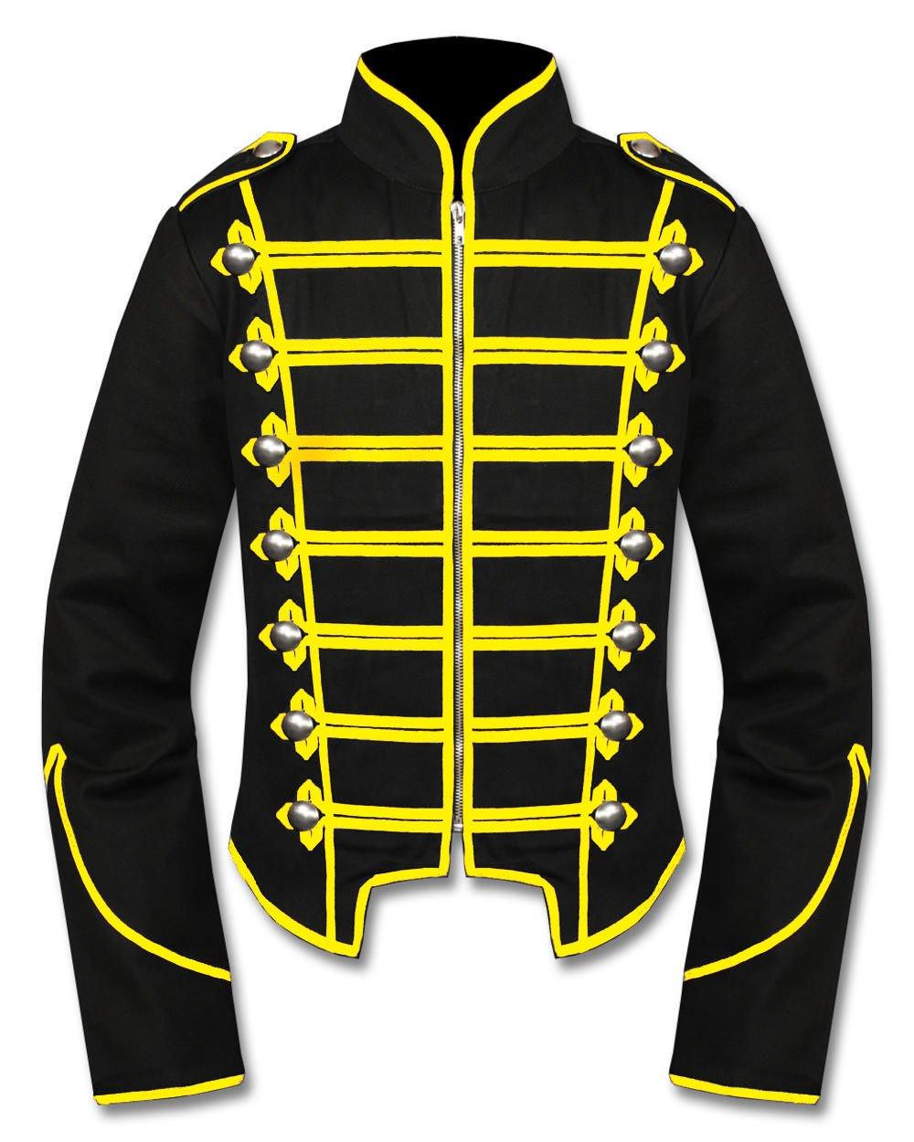 Handmade Men Black/Yellow Military Marching Band Drummer Jacket
