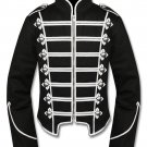 Men's Handmade Silver Black Military Marching Band Drummer Jacket