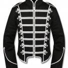 Men's Handmade Silver Black Military Marching Band Drummer Jacket