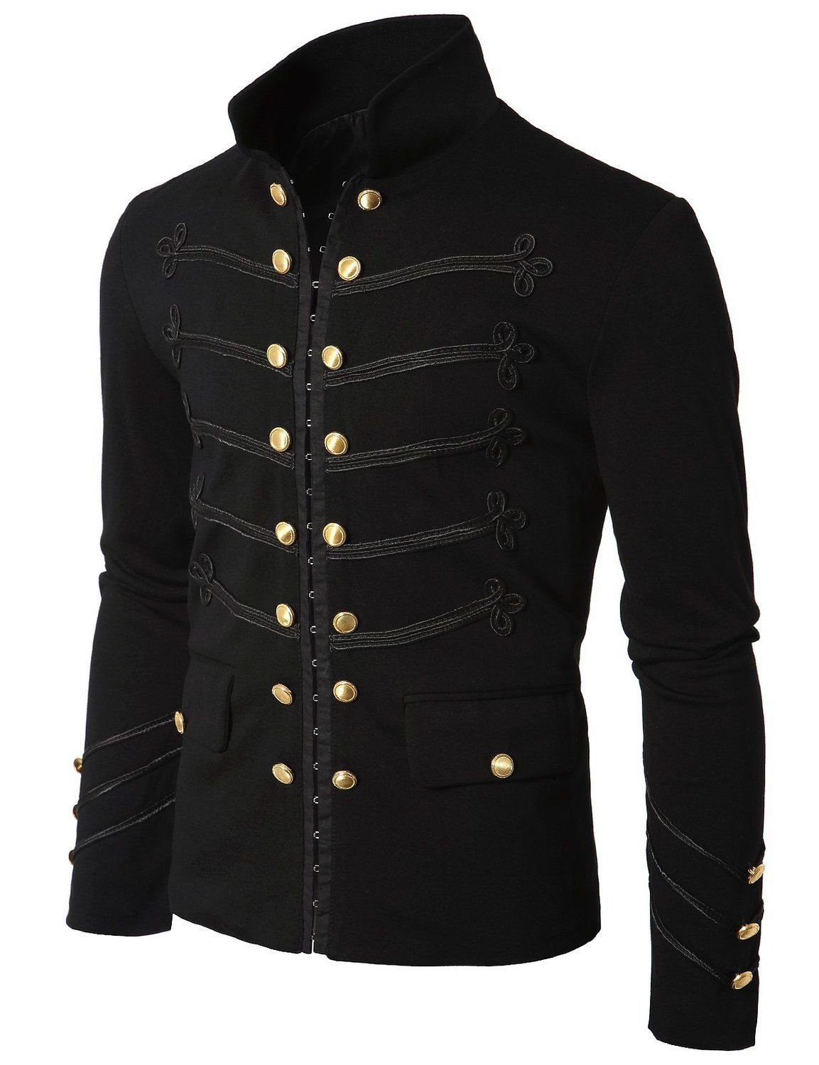 Handmade Black Embroidery Military Napoleon Hook Jacket