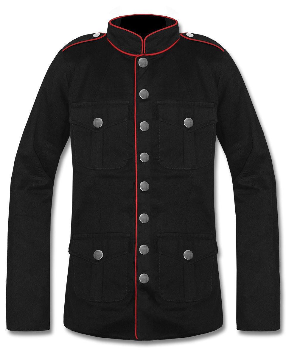 Mens Military Jacket Black Goth Steampunk