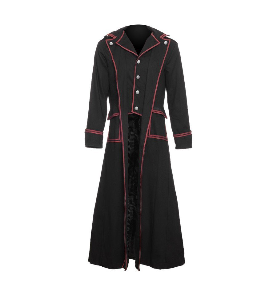 Officer Coat Black With Red Stripes