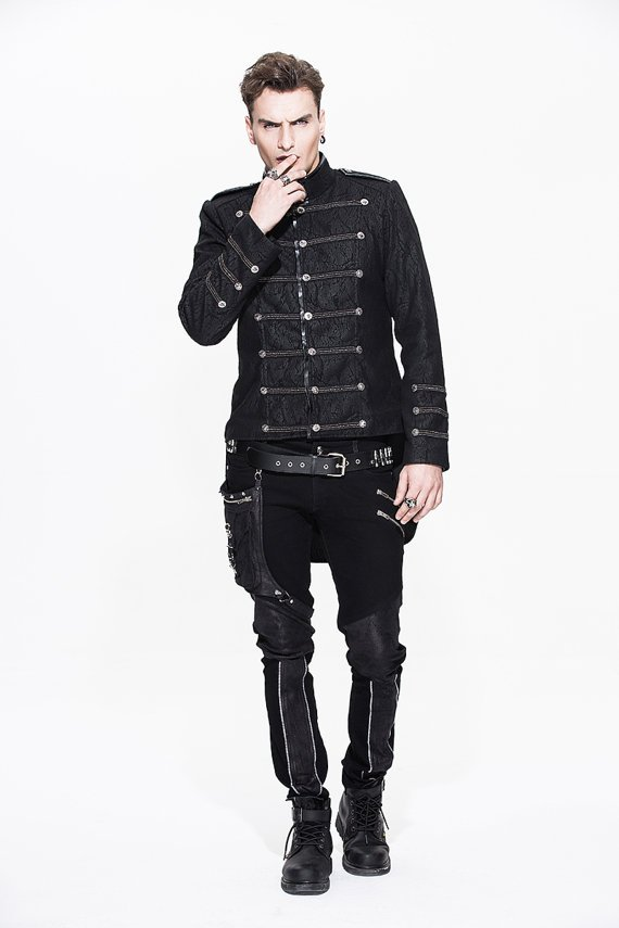 Gothic Men Fashion Jacket Visual Punk Stand Collar Single-breasted Casual Coat