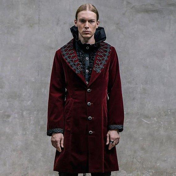 Gothic Men's Dress Coat Steampunk Lapel Neck Winter Long Jacket