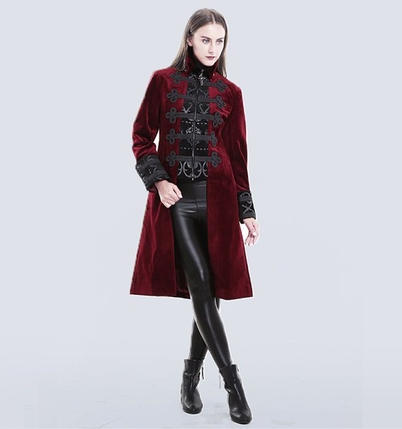 Gothic Women Winter Long Coat Fake-two-pieces Red Court Dress Coat