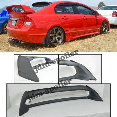06-11 Civic Sedan Mugen RR Rear Spoiler FD2 FA2 W/ Red Emblems ABS Plastic