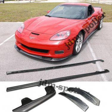 05-13 SIDE SKIRTS CORVETTE C6 Z06 ZR1 STYLE CARBON FIBER BODY KIT ROCKET PANEL
